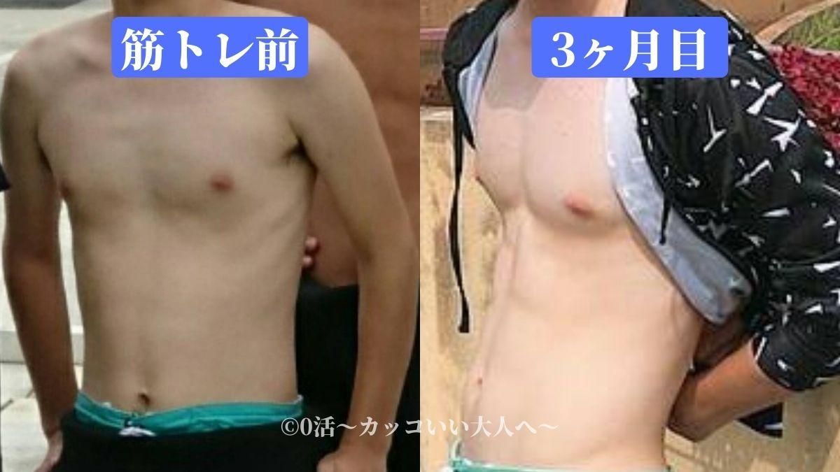 腹筋ローラーのビフォーアフター3ヶ月